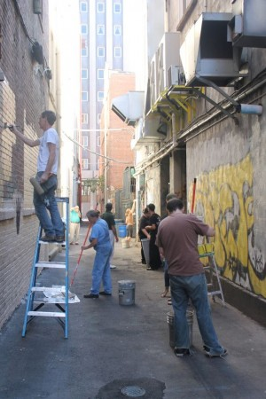 Prepping the walls, Artist Alley Revamp Project, Strong Alley, Knoxville, November 2012