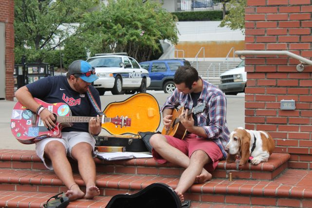 Buskers and Dog on Market Square, Knoxville, Fall 2012
