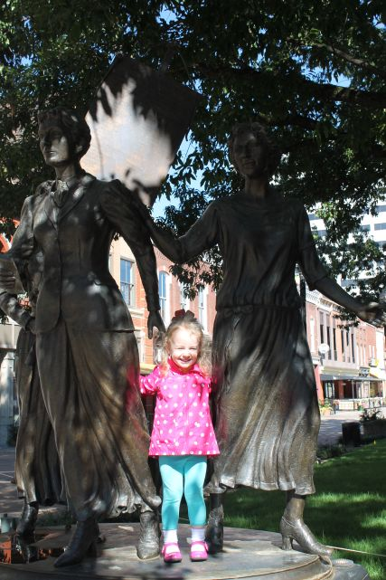 Urban Girl Stands with Suffragettes, Market Square, Knoxville, Fall 2012