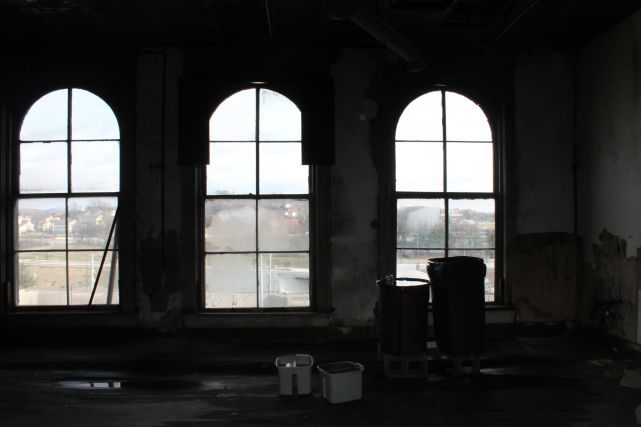 Windows on side of Tailor Lofts, Fourth Floor, Knoxville, December 2012