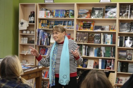 Carole Borges Leading a Sing-a-Long at Union Avenue Books, Knoxville, January 2013