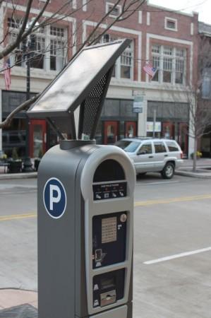 Solar-Powered Parking Meters, 100 Block of Gay Street, Knoxville, 2013