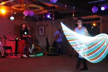 Charity Edwards (AKA Hoop Bug) with Preston Davis (double bass) and Laith Keilany (oud)
