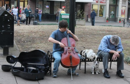 Classical Busker, Market Square, Knoxville, February 2013