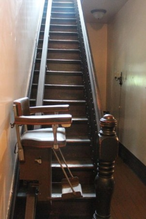 Chair Lift on Stairwell, Historic Westwood, 3425 Kingston Pike, Knoxville, April 2013