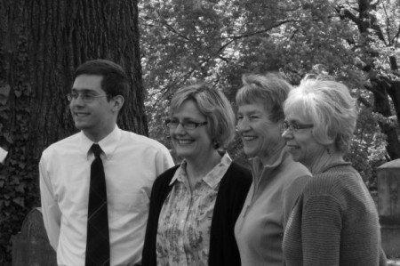 Poetry in Old Gray winners, L-R Aaron Waldrupe, Jane Sasser, Connie Jordan Greene and Linda Parsons Marion, Old Gray Cemetery, Knoxvlle, April 2013