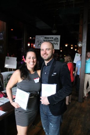 Amie Snyder and Aaron Thompson of Sapphire hold their awards, Metropulse Best of Knoxville Party, Barley's Knoxville, May 2013