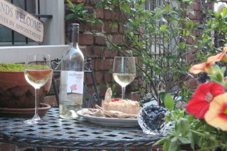 Wine, Humus and Blueberries in the Courtyard, Kendrick Place, Knoxville, May 2013