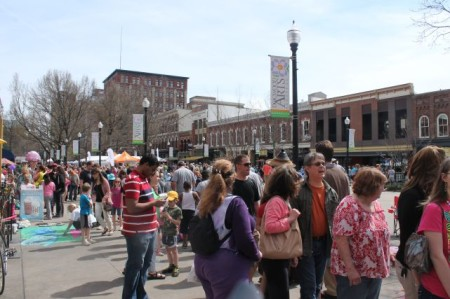 Crowds on Market Square, Knoxville, April 2013