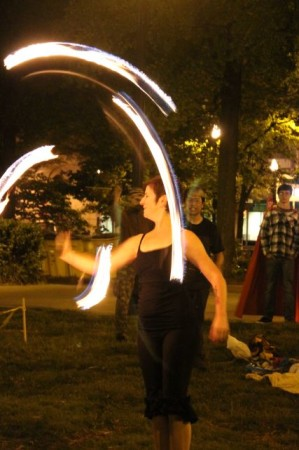 Charity Edwards, Fire Hooper, Krutch Park Drum Circle, Knoxville, First Friday May 2013
