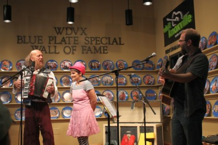 Sean McCollough with Lisa McLeod and Jake Weinstein of One World Circus, Knoxville Visitor's Center, May 2013