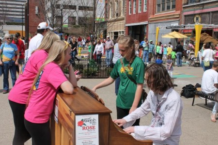 Young Musician and Fans, Market Square, Knoxville, April 2013
