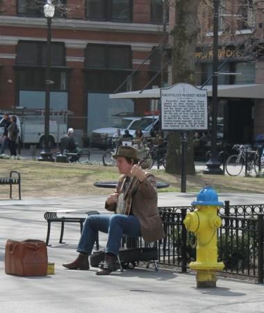 Busker on Market Square, Knoxville, Spring 2013
