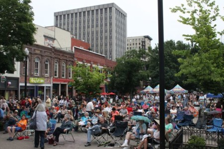 Crowd at the Bob Dylan Birthday Bash, Market Square, Knoxville, June 2013