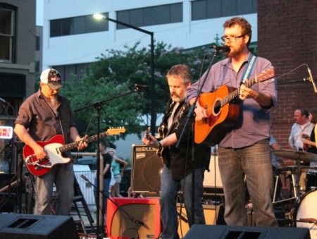 Daniel Kimbro with Greg Horne and Tim Lee, Bob Dylan Birthday Bash, Market Square, Knoxville, June 2013
