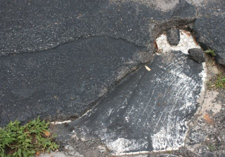 Hexagonal Tile covered by asphalt, Locust Street, Knoxville, June 2013