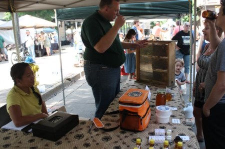 Honey for Sale, Complete with Bees, Market Square Farmers' Market, Knoxville, May 2013