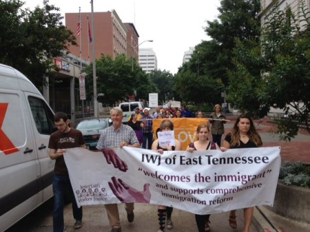Immigration March down Market Street, Knoxville, June 2013