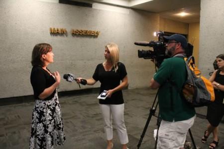 Kim Trent Interviewed After the Metropolitan Planning Commission Vote, Knoxville, June 2013.jpg