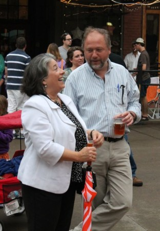 Mayor Rogero and Jack Neely at the Bob Dylan Birthday Bash, Market Square, Knoxville, June 2013