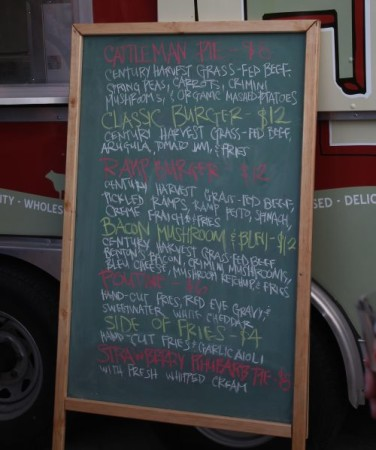 Menu for Hoof Food Truck, Knoxville, May 2013
