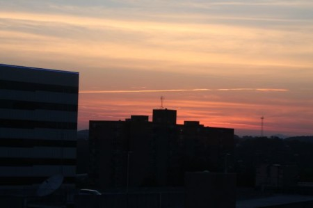 Sunset view from the Arnstein Building, Seventh Floor, Knoxville, June 2013