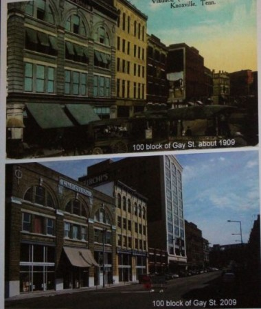 100 Block of Gay Street, Knoxville, 1909 and 2009