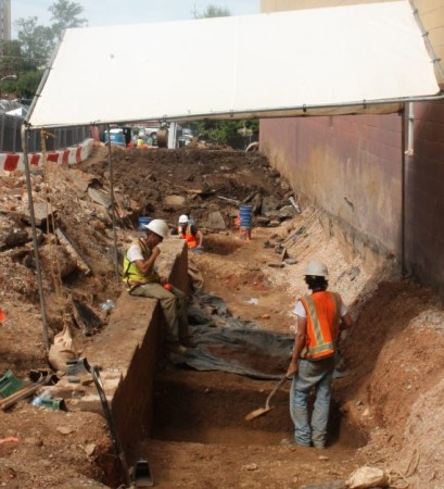 Archaeological Excavation, Peter Kern Home Basement Wall, Walnut Street, Knoxville, July 2013