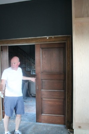 Brian Pittman with original pocket doors, Mary Boyce Temple House, Knoxville, July 2013