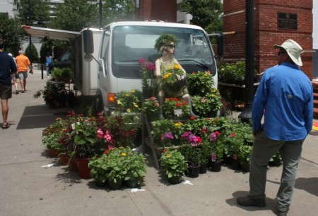 Greg Blankenship of Gregory's Greenhouse with his flowers, Farmers' Market, Knoxville, July 2013