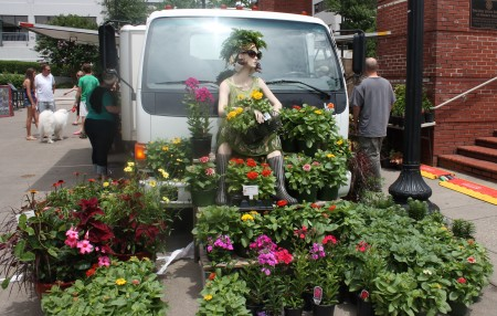 Gregory's Greenhouse Mannequin with his flowers, Farmers' Market, Knoxville, July 2013