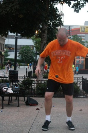 Jason Mann of the Knoxville Footbagging Association on a Wednesday Night, Market Square, Knoxville, July 2013