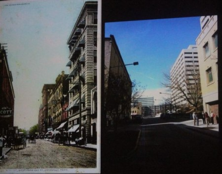 Wall Avenue, Knoxville, early 1900's vs. Current photographs
