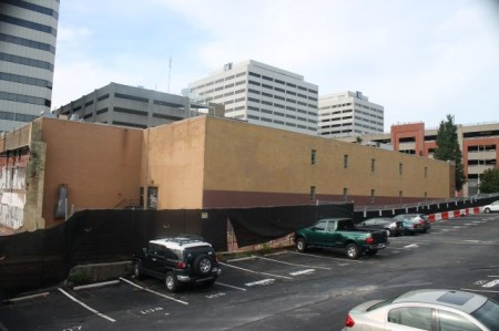 Building to be Destroyed for Parking Garage, Corner of Summer Place and Walnut, Knoxville, August 2013