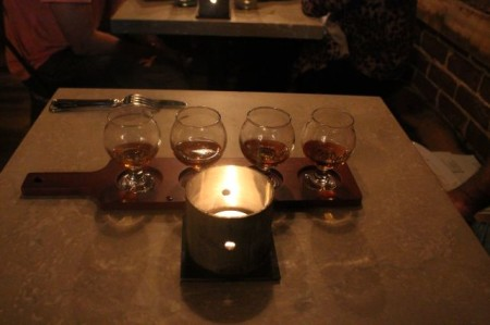 Flight of Bourbon at the Stock and Barrel, 35 Market Square, Knoxville, August 2013