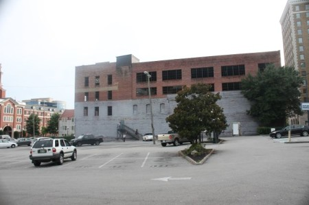 Parking Lot and Pryor Brown Garage from Gay Street, Knoxville, August 2013