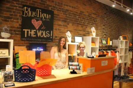 Rachel Turner and Emma Gill behind the counter at Bluetique, 31 Market Square, Knoxville, August 2013