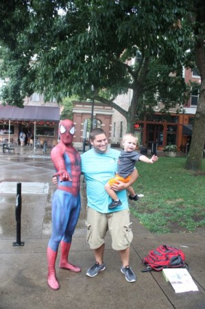 Spiderman Scares a Child, Market Square, Knoxville, Summer 2013