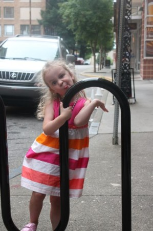 Urban Girl, Bike Rack, Union Avenue, Knoxville, Summer 2013