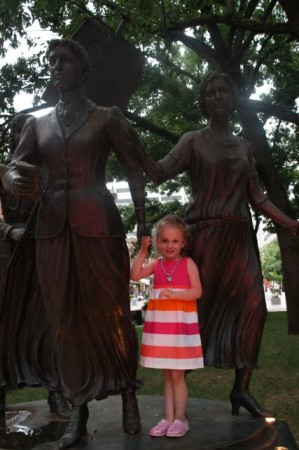 Urban Girl Holding the Hands of History, Market Square, Knoxville, Summer 2013