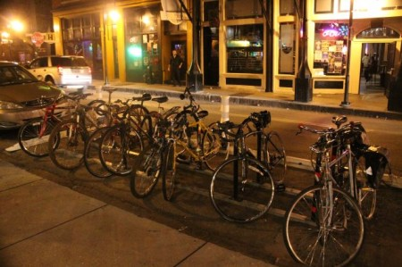 Bikes on Central in the Old City, Knoxville, September 2013