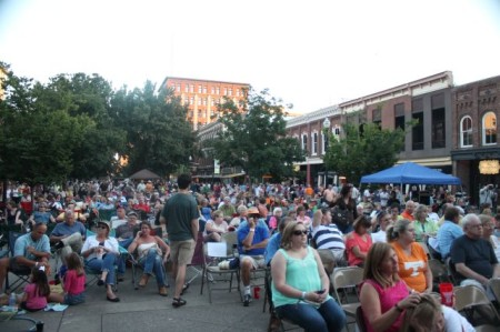 Crowd Listening to Bluegrass, Market Square, Knoxville, September 2013