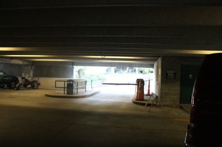 Exit onto Clinch Avenue from the State Street Garage, Knoxville, September 2013
