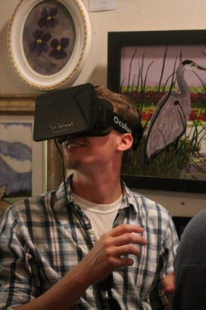 Oculus Wearing Fan enjoys Virtual Reality Tour of a Castle, Gallery Nuance, Knoxville, September 2013