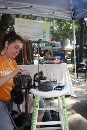 Jo Anne Neary of Knox Socks, Market Square Farmers' Market, Knoxville, September 2013