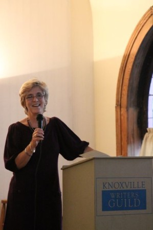 Pamela Schoenewaldt at Book Launch for Swimming the Moon, Laurel Theater, Knoxville, September 2013