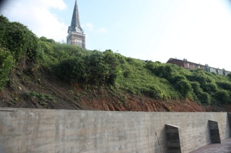 View up the Bluff from the Standard Patio (Immaculate Conception Catholic Church), Jackson Avenue, Knoxville, September 2013