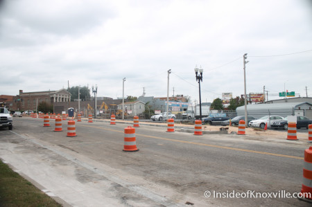 Construction on 500 Block of N. Gay Street with Used Car Lot, Knoxville, October 2013