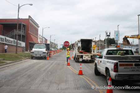 Construction on 500 Block of N. Gay Street, Knoxville, October 2013
