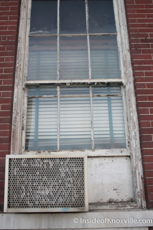 Windows in Poor Repair and Window-unit Air Conditioner, Knoxville High School, Fifth Avenue, Knoxville, October 2013